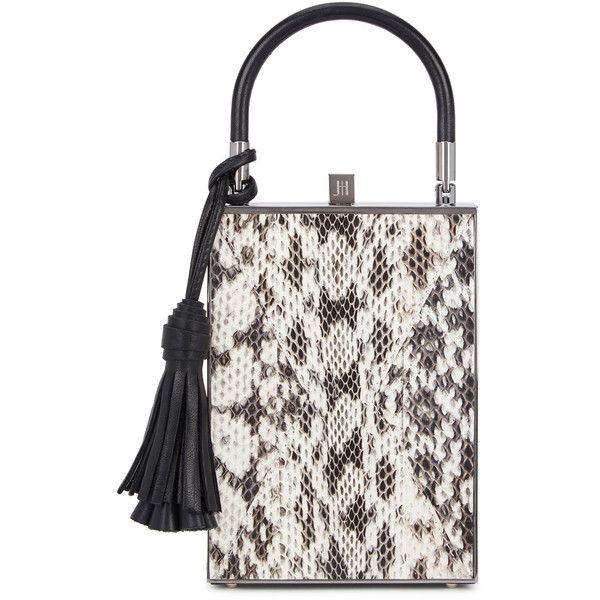 Jill Haber Sebastian Snake Box Bag (9.710 DKK) ❤ liked on Polyvore featuring bags, handbags, snake leather handbags, leather purses, real leather purses, leather handbags and real leather handbags