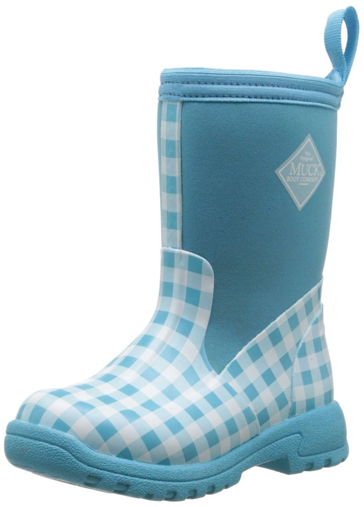 Muck Boot Kid's Breezy Rain Boots Blue Gingham Size 11.0M