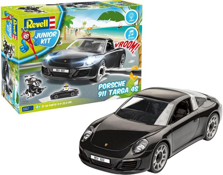 Model Kit »Junior Kit Porsche 911 Targa 4S«, Scale 1:20, (49 pcs), Car with Light and Sound, M