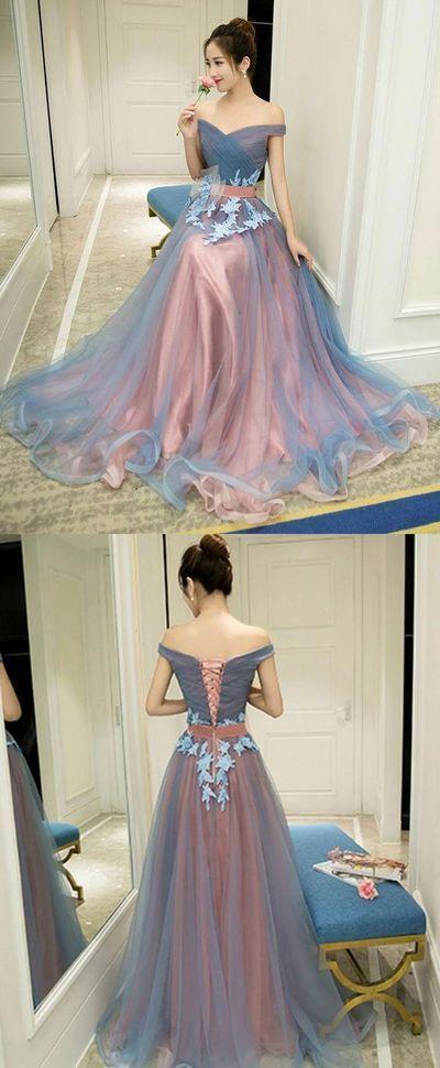 Gray blue tulle off shoulder long prom dress, gray blue evening dress G044 from MeetBeauty
