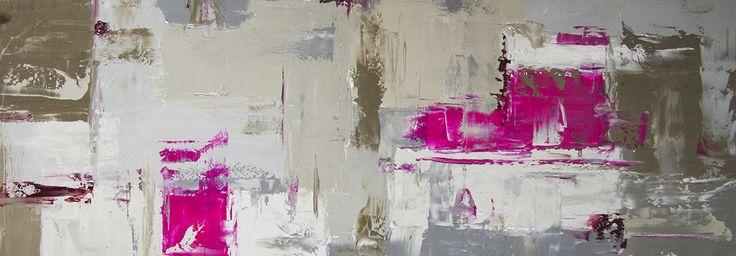 Toile panoramique abstraite grise rose kaki. A partir de 59 € en 30/90 cm. Huile sur toile sur châssis. http://www.peintures-sur-toile.com/tableau-panoramique-sur-toile-xsl-244_343_413.html