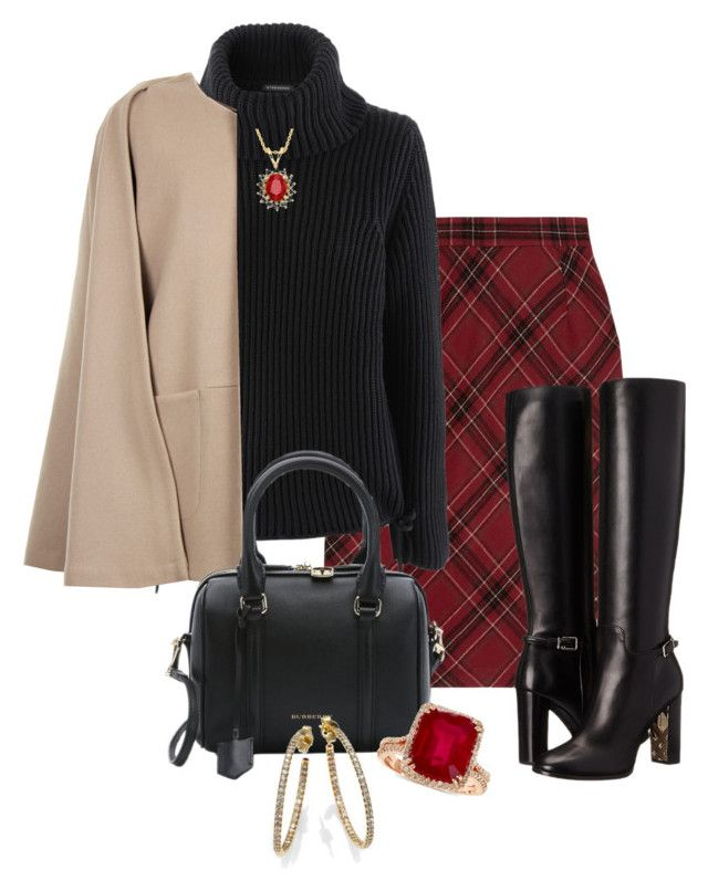 """""""Fall Plaid"""" by debbie2013 ❤ liked on Polyvore featuring Clements Ribeiro, Burberry, Strenesse, MSGM, Roberto Coin, Effy Jewelry and styleit"""