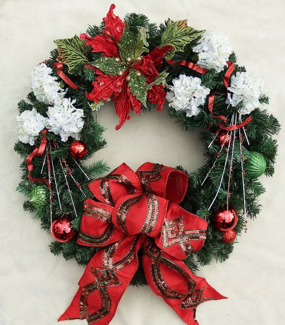 Red and Green poinsettia Christmas wreath white flower