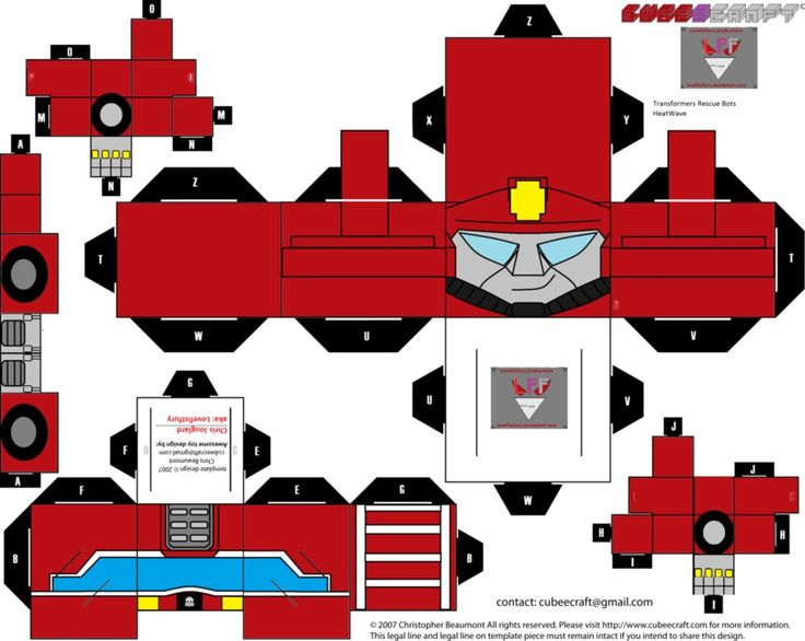 Rescue BOTS HeatWave cubee template by ~lovefistfury on deviantART