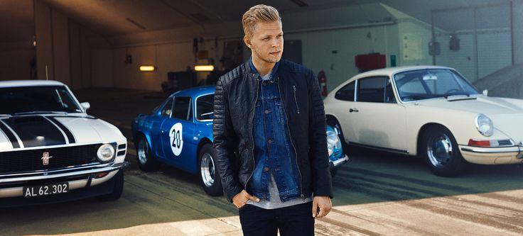 Kevin Magnussen for JACK & JONES VINTAGE CLOTHING black leather jacket, denim jacket, slim fit jeans
