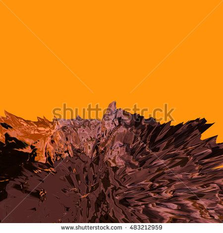 Background of glitch manipulations with 3D effect. Abstract landscape with sharp peaks in orange and brown shades.