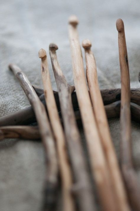 Diy handmadr carved crochet hooks Wooden sticks made into crochet hooks ~ Wabi Sabi. I have a few of these that were carved for a grateful wife.