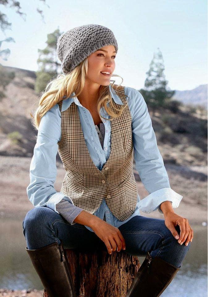 Blue Shirt , Vest ,Jean With knit Cape