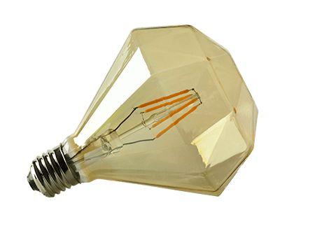 Diamant vormige Led filament lamp D120-4W E27 amberkleur glas