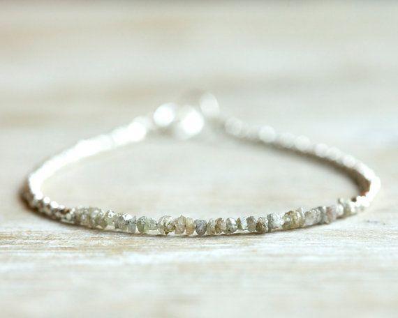 RESERVED Rough diamond bracelet sparkling gray raw uncut by Filoe, $55.00