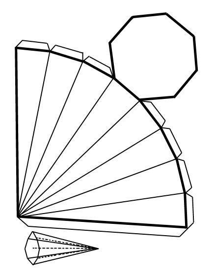 Como fazer uma pirâmide com base octogonal - 6 passos