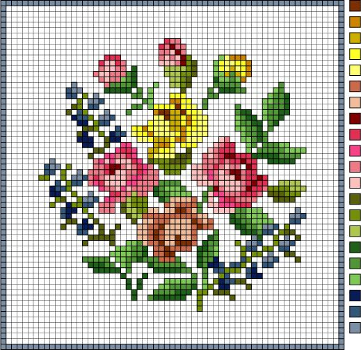 do this in duplicate stitch: Vintage Floral Needlepoint Pattern: Vintage Needlepoint Floral