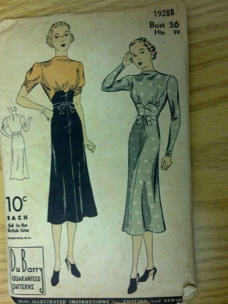 vintage DuBarry sewing pattern 1930's womens dress high waistline w/ tie #1928B