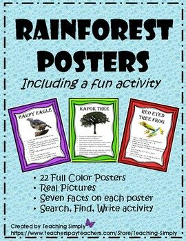 Check out these cool rainforest posters!  Perfect addition to your rainforest unit.  Colorful borders, real pictures and facts about each plant and animal.