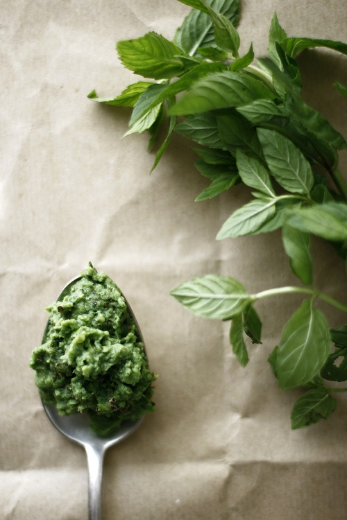I like the composition, the soft light, the use of the spoon as a holder of the pesto, the paper background, the story of the photo - herbs into pesto