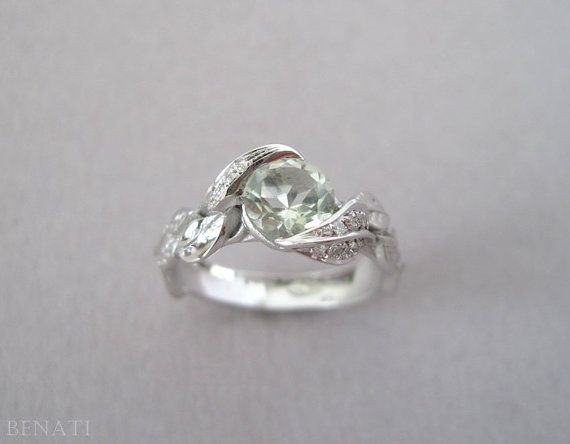 Green Amethyst Leaf Ring, Engagement Leaf Ring, Diamond Engagement Ring, White Gold Diamond leaf Ring With Green Amethyst, Leaves Engagement