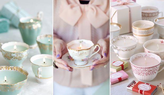 teacup candlesVintage Teacups, Teas Cups, Gift Ideas, Vintage Teas, Teacups Candles, Tea Cups, Diy Projects, Teacup Candles, Crafts