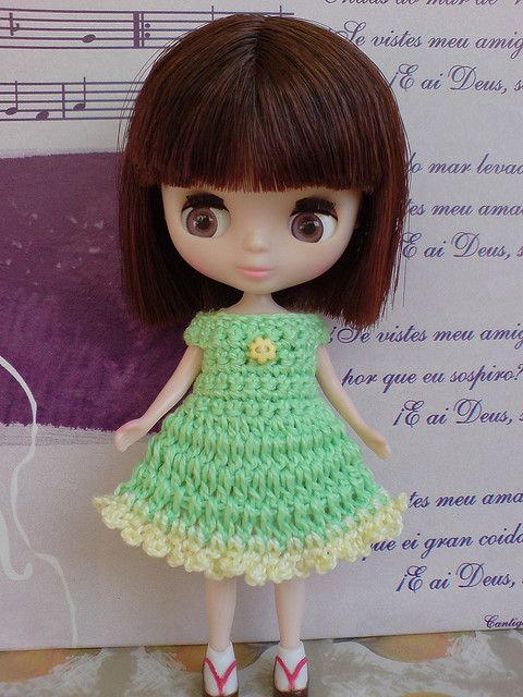 Petite Blythe Crochet Dress Sweet Time green/yellow, via Flickr.