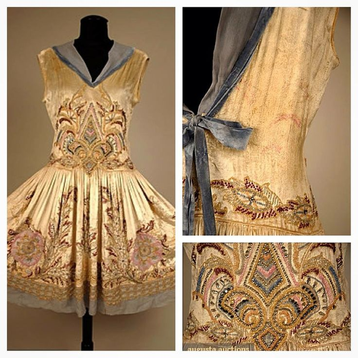 A gold beauty with lovely blue accents. Beaded  Jeweled Velvet Dress, 1920s.