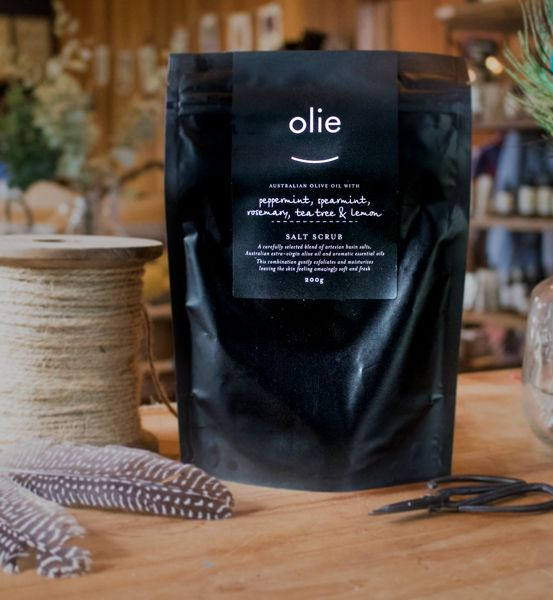 Australian organic skincare from Olieve & Olie. Buy Olieve & Olie Salt Scrub online from Mountain House. Gift wrap or include as part of a luxury hamper.