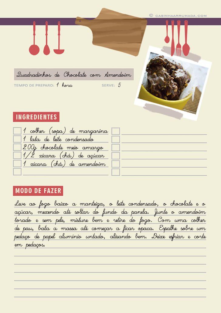 Folha de receita para download - Faça o seu próprio caderno de receitas