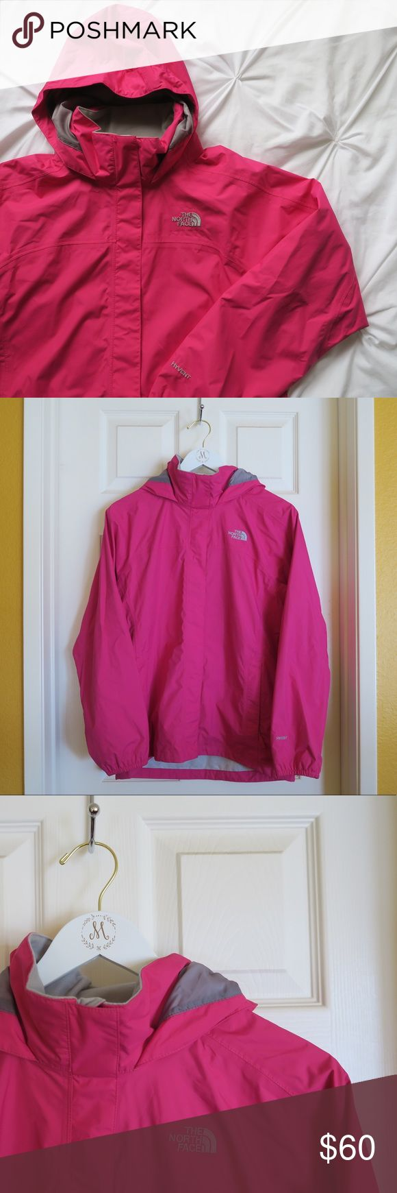 Girls North Face Jacket Girls North Face Jacket. Great condition! I wear a size small in women's and this girls XL jacket fits perfect.   Waterproof, breathable, fully seam sealed Mesh-lined body Brushed collar lining Hood stows in collar Zip hand pockets Center front zip and Velcro® closure Elasticized cuffs Chin guard flap North Face Jackets & Coats Raincoats