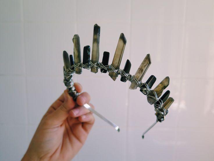 Staggered style Smokey quartz & short black Tourmaline crown