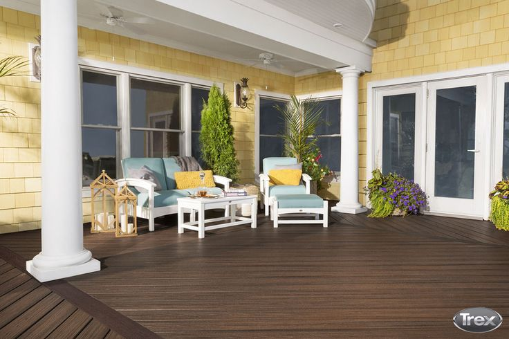 #TrexTip: Use creative design tricks, like a mix & match color scheme, to up the style of your deck without upping the price of materials, which can be estimated using our cost calculator. #outdoorliving #deck #backyard #patio #porch #deckbuild #compositedecking