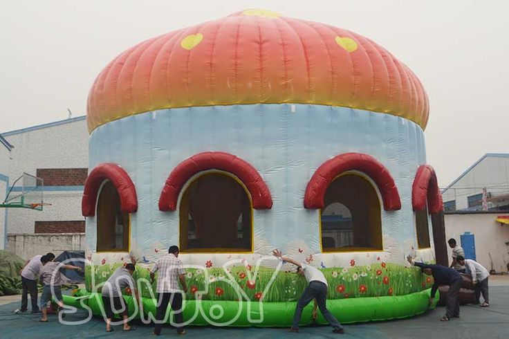 30FT diameter giant inflatable mushroom bounce house with obstacles for sale, perfect for party rental business, amusement park and play centers.