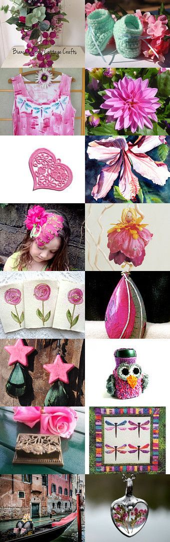 Pretty in Pink...and Green ! by riagr on Etsy--Pinned+with+TreasuryPin.com