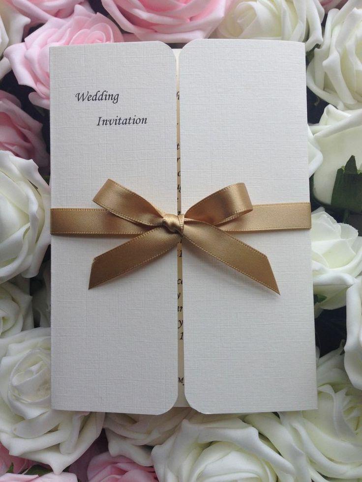 handcrafted wedding stationery uk%0A    Handmade personalised Wedding Invitations  Gatefold Style with ribbon