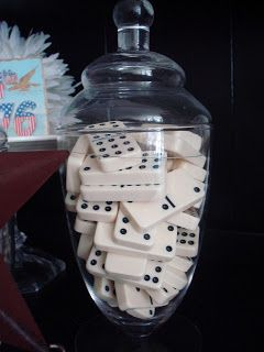 Game Room/library - display dominos, packs of cards, dice in apothecary jars.