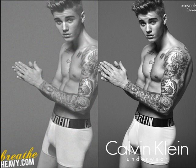 These Before & After Photos Of Justin Bieber Show Calvin Klein Probably Photoshopped His Bulge Bigger