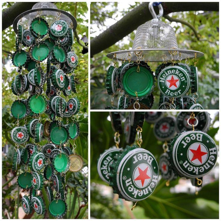 Heineken custom handmade recycled beer bottle cap green for Can beer bottle caps be recycled