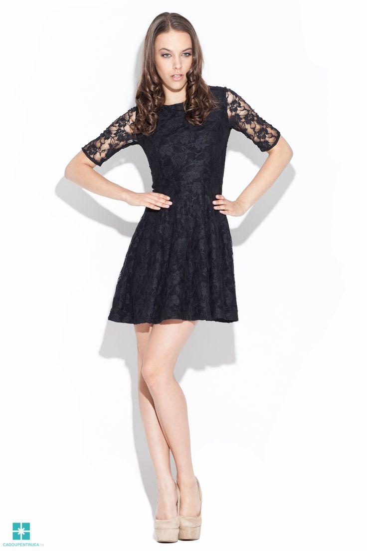 Rochie de seara din dantela eleganta neagra cu fusta clos