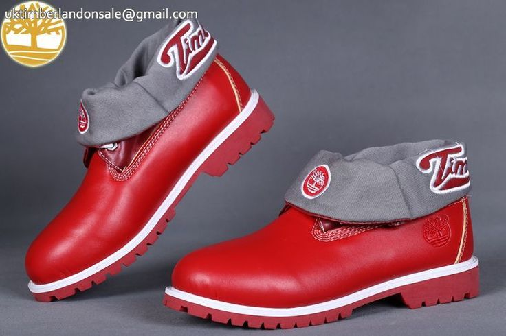 Custom Grey-Red Roll Top Timberland New Men Boots Online $95.99