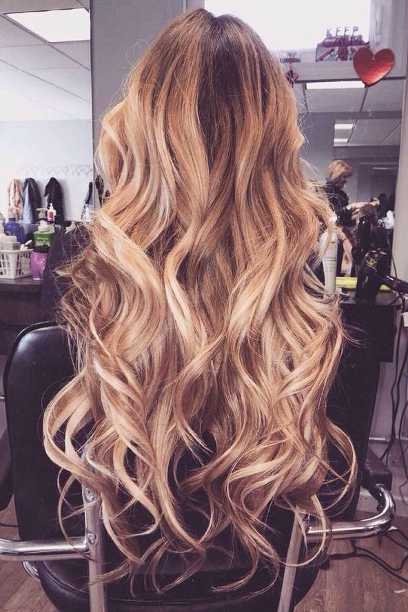 Long, luscious and lovely Waves ♥ | Full Head Remy Clip in Human Hair Extensions - Dip Dye Effect - Dark Brown/Ginger Blonde (#T2/27) |http://www.jexshop.com/