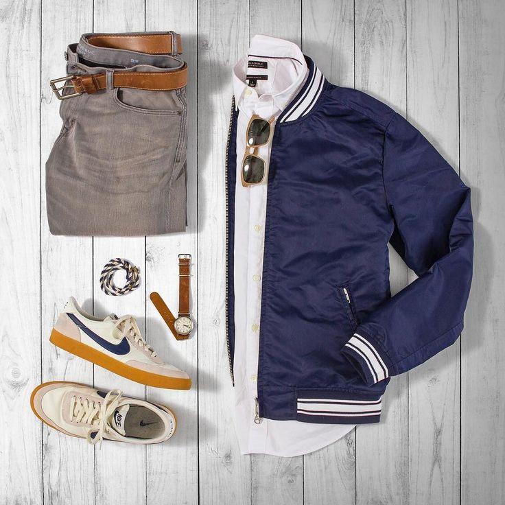 Sporty spring. #grabergrid Denim Shirt: @bananarepublic Belt: @rancourtco Jacket: @gantrugger Shades: @colehaan Bracelet: @kjp Watch: @timex Sneakers: @nike Killshot 2 Outfit by matthewgraber