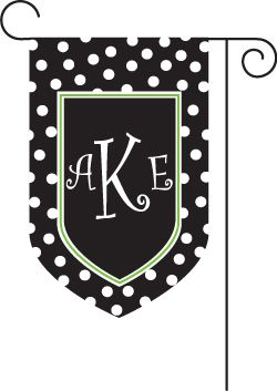 Monogram Polkadot Black Garden Flag : Personalized Gifts   Preppy  Monogrammed Gifts @ 2PreppyGirls.com