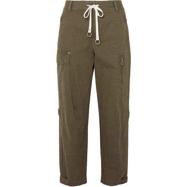 T by Alexander Wang Washed cotton-canvas tapered pants found on Polyvore featuring pants, army green, tapered pants, olive green pants, brown pants, tapered trousers and green camo pants