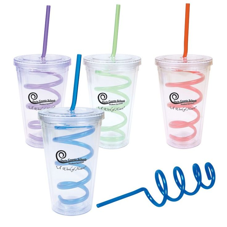 16 oz. Double Wall Clear Cool Acrylic Tumbler with Twisty Straw