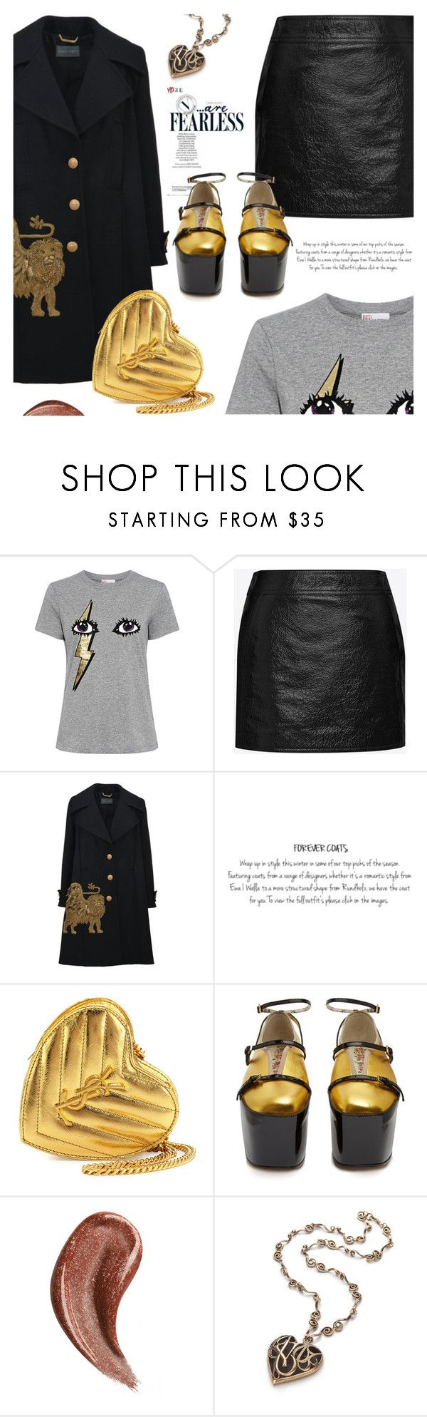 """""""Dress up a T-Shirt"""" by jan31 ❤ liked on Polyvore featuring RED Valentino, Yves Saint Laurent, Alberta Ferretti, Gucci, tshirts, metallics, PlatformBoots, leatherskirts and coats"""