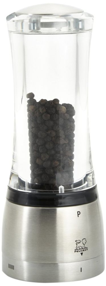 New Peugeot PSP 25427 Pepper Mill Grinder Daman U'Select Steel Acrylic 6.5-Inch #Peugeot
