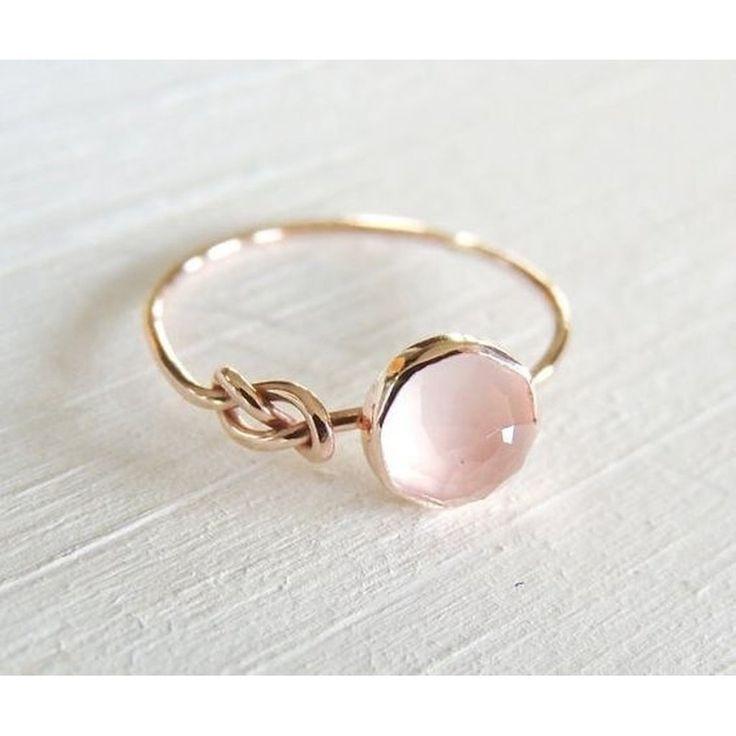 Luxuriöse natürliche Edelstein Pink Moonstone Diamond Ring solide 18 Karat Roségold Ring Infi…