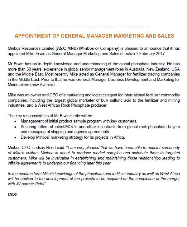 how write appointment letter doctor general manager sample
