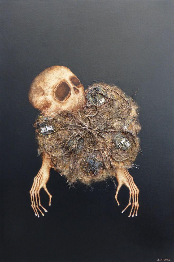 Atome © Laurent Fièvre - Canvas (acrylic, rope, fabric, silk paper, electronics mobile phones) - 81 x 54 cm - 22/08/2014