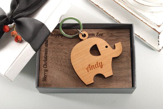 ELEPHANT  ready to give gift box personalized solid by MoodForWood