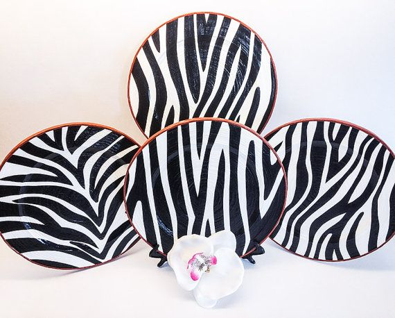 Zebra decor, zebra room decor, zebra kitchen decor, black white decor, zebra plates set, zebra wall art, zebra design, zebra prints