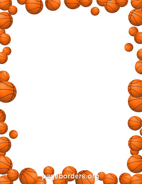 Printable basketballs border. Use the border in Microsoft Word or other programs for creating flyers, invitations, and other printables. Free GIF, JPG, PDF, and PNG downloads at http://pageborders.org/download/basketballs-border/