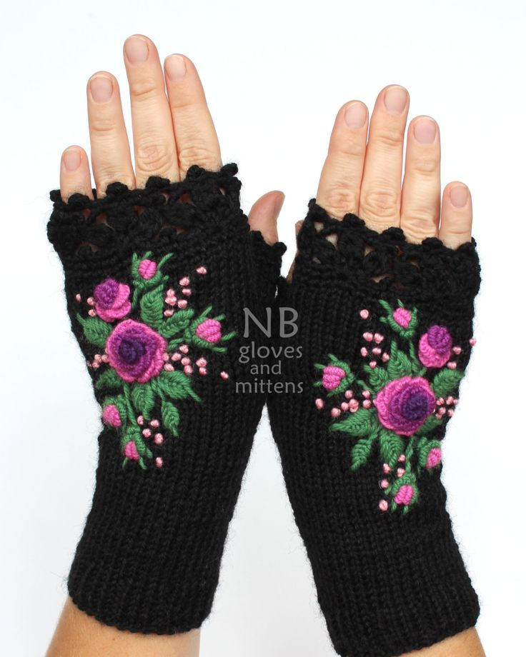 MADE TO ORDER  These unique hand knitted accessory can be a wonderful accent to Your clothes :)  Gloves are: length: 20 cm (8 inches); circumference of the wrist: 18 cm (7). fiber composition: 60% wool, 40% acrylic; colors: black background; 3 shades of purple; pink, green; size: M.  This is my own design.  I recommend hand washing in lukewarm water and air drying.  This item was knitted in a Smoke-Free home.  Please contact me with any questions.  Thank you for visiting my shop :)